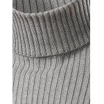cheap Slim Fit Roll Neck Ribbed Knitted Sweater