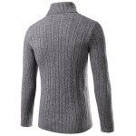Slim Fit Turtleneck Cable Knit Sweater L GRAY