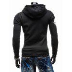 Graphic Print Emboss Hooded Zip-Up Hoodie - BLACK