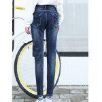 Patched Pencil High Waisted Jeans photo