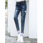 cheap Patched Pencil High Waisted Jeans