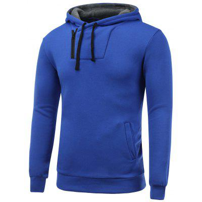 Buy BLUE Side Zip Up Drawstring Pullover Hoodie for $17.31 in GearBest store