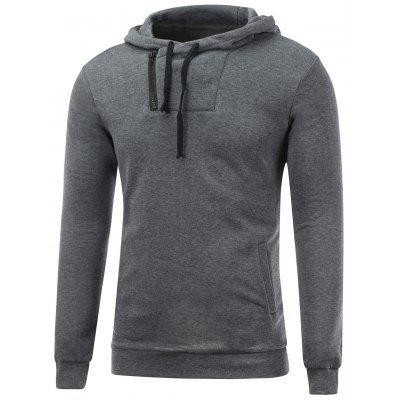Buy GRAY Side Zip Up Drawstring Pullover Hoodie for $17.31 in GearBest store