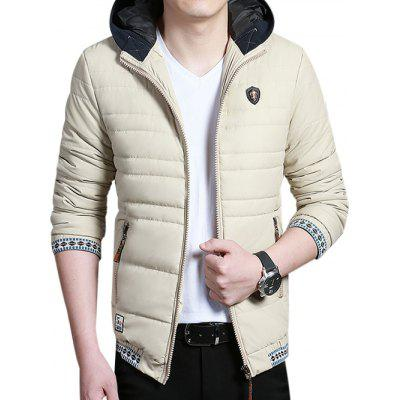 Tribal Printed Zip Up Padded Hooded Jacket