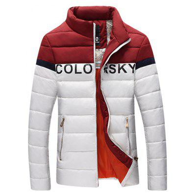 Letter Printed Color Block Zipper Padded Jacket