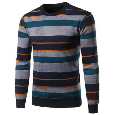 Crew Neck Color Block Spliced Stripe Sweater