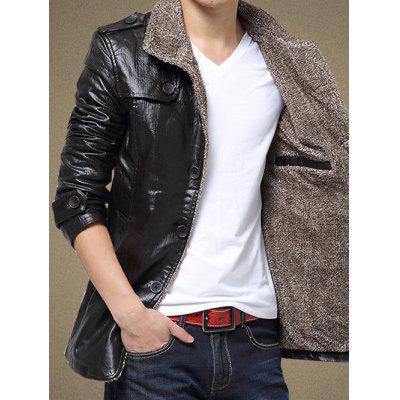Faux Leather Flocking Single Bresated Jacket
