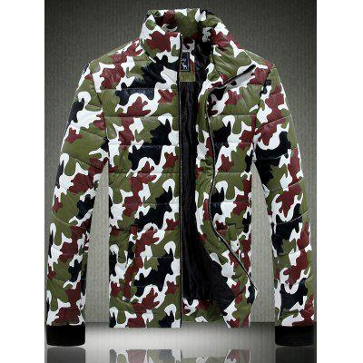 Funnel Neck Zip Up Camouflage Quilted Jacket
