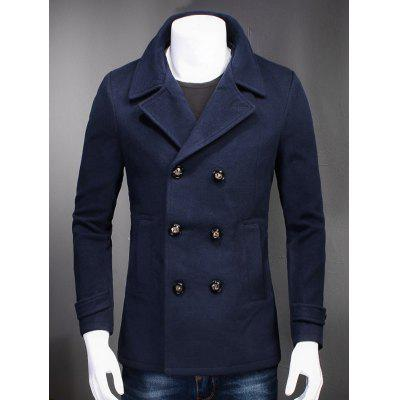 Turndown Collar Double Breasted Woolen Coat