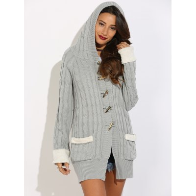 Buy GRAY Horn Button Cable Knit Cardigan for $17.42 in GearBest store