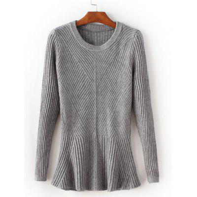 Gray Crew Neck Tight Pullover Ribbed Sweater ONE SIZE-$21.84 ...