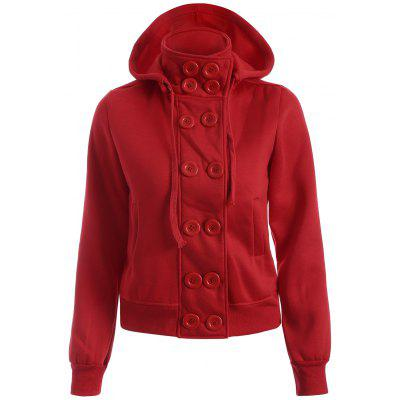 Double Breasted High Collar Hoodie Jacket