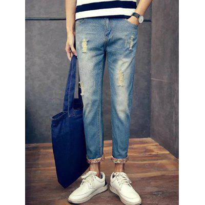 Buy DENIM BLUE 34 Slim Fit Zipper Fly Jeans with Broken Hole for $22.59 in GearBest store