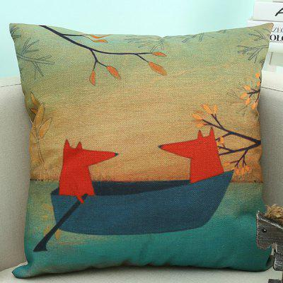 Cartoon Fox Linen Sofa Cushion Pillow Case