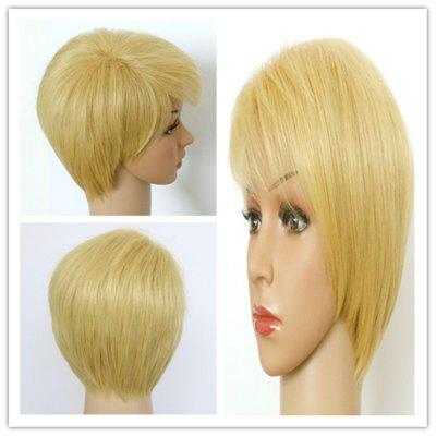 Refreshing Short Fluffy Light Blonde Side Bang Women's Synthetic Hair Wig