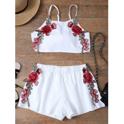 Floral Embroidered Bowknot Top with Shorts