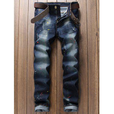 Buy BLUE 38 Scratched Pocket Rivet Paint Splatter Jeans for $35.59 in GearBest store