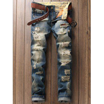 Buy BLUE Zipper Fly Pocket Rivet Scratched Ripped Jeans for $23.01 in GearBest store