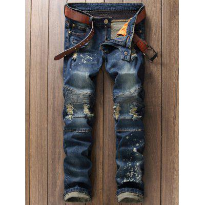 Buy BLUE 34 Scratched Zippered Pocket Rivet Paneled Ripped Jeans for $28.20 in GearBest store
