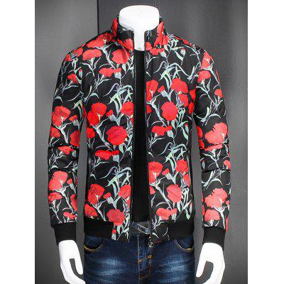 Stand collare Zip Up Fiore Stampato Jacket