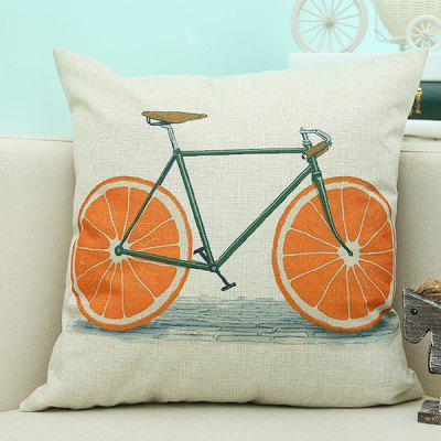 Bike Pattern Sofa Cushion Linen Pillow Case