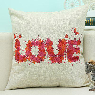 Love Letter Printed Sofa Cushion Linen Pillow Case