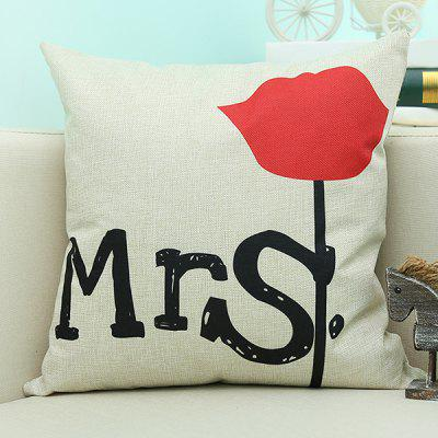 Letter Floral Printed Sofa Cushion Linen Pillow Case