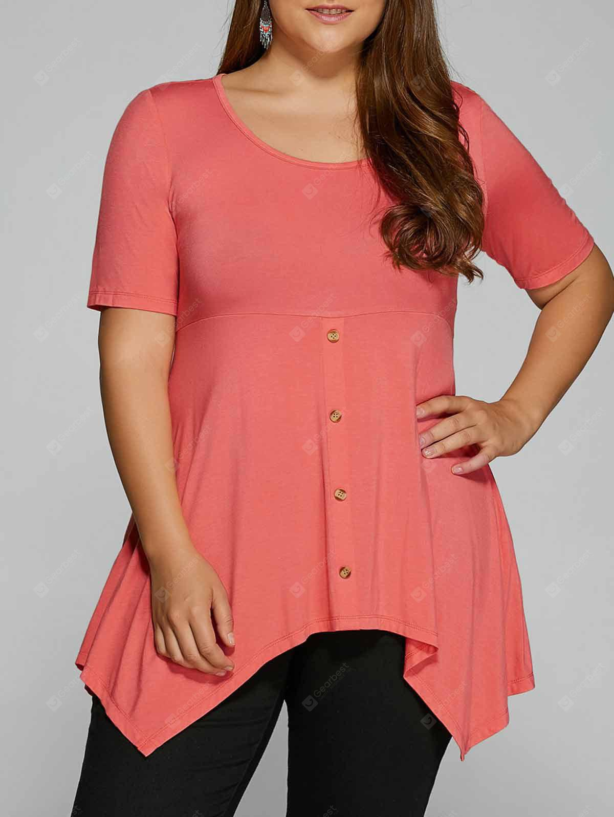 Plus Size Empire-Taille Asymmetrisches T-Shirt