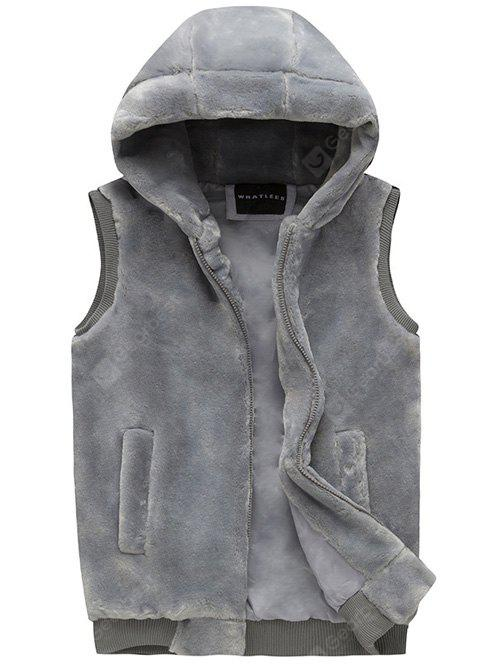 Zip Up Faux Fur Hooded Vest