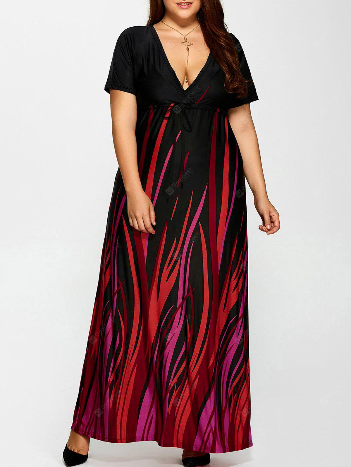 Plus Size Printed Empire Taille Maxi Formal Ein Line Party Kleid