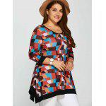 cheap Plus Size Geometric Print Contrast Trim Tee