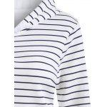 Striped Button Embellished Flocking Hoodie - WHITE