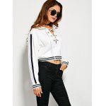 Criss Cross Striped Pattern Two Tone Hoodie - WHITE