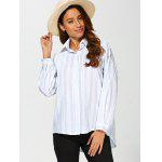 Striped Drop Shoulder Formal Shirt - LIGHT BLUE