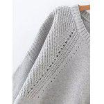 Buy High Low Long Sleeve Hollow Sweater LIGHT BLUE