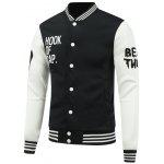 Buy WHITE AND BLACK Letter Print Color Block Baseball Jacket for $11.91 in GearBest store