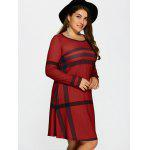 Plus Size Striped Long Sleeve T-Shirt Dress - RED