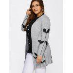 Collarless Leaf Pattern Cute Plus Size Cardigan - LIGHT GRAY