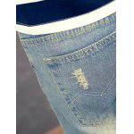 Slim Fit Zipper Fly Jeans with Broken Hole photo