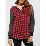 Plaid Patchwork Fleece Hooded Jacket
