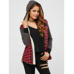 cheap Plaid Patchwork Fleece Hooded Jacket