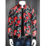 Stand collare Zip Up Fiore Stampato Jacket - NERO