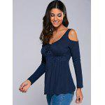Cold Shoulder Empire Waist Blouse - PURPLISH BLUE