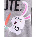 best Letter Print Rabbit Graphic Sweatshirt