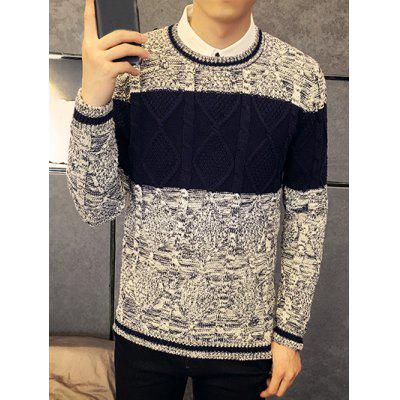 Rhombus Pattern Contrast Color Crew Neck Sweater