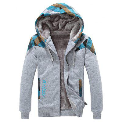 Side Pocket Plaid Insert Flocking Zip Up Hoodie