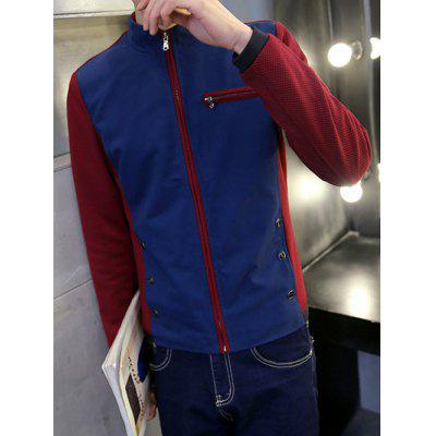 Button Embellished Zippered Insert Texture Jacket