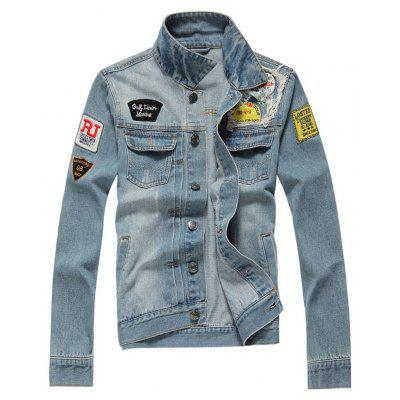 Button Up Applique Distressed Pocket Denim Jacket