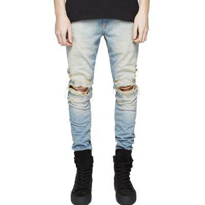 Slim Fit Zip Fly Jeans with Knee Rips