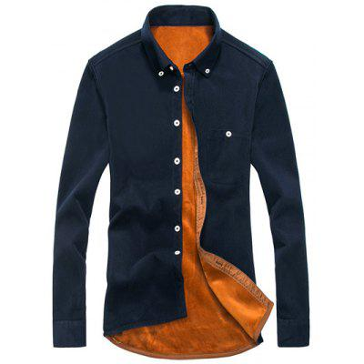Chest Pocket Flocking Button Down Corduroy Shirt